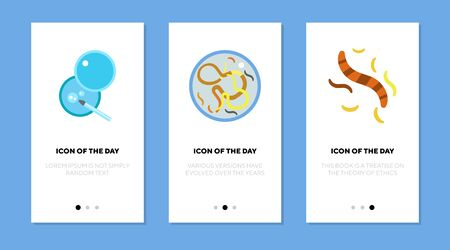 Microscope examination flat icon set. Glass, study, bacteria isolated vector sign pack. Microorganism and analysis concept. Vector illustration symbol elements for web design and apps
