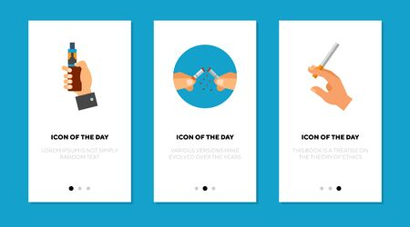 Smoking and vaping flat icon set. Nicotine, lung, stick isolated vector sign pack. Vicious habit and unhealthy concept. Vector illustration symbol elements for web design and apps