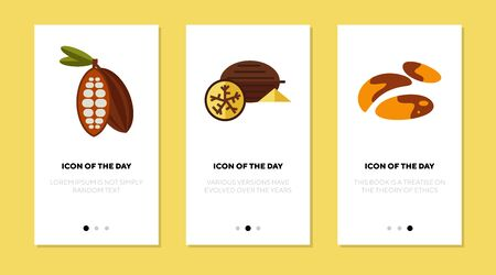 Exotic nuts flat icon set. Pecan, dessert, nutrition isolated vector sign pack. Food and health concept. Vector illustration symbol elements for web design and apps