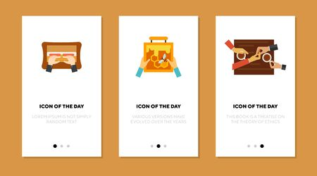 Apiculture, cooking, dating flat icon set. Cafe, dating, beekeeping isolated vector sign pack. Motion and action concept. Vector illustration symbol elements for web design and apps