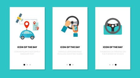 Mobile navigation flat icon set. GPS, map, outdoor isolated vector sign pack. Transportation and technology concept. Vector illustration symbol elements for web design and apps