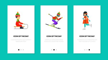 Winter sport flat icon set. Cold, fun, snow isolated vector sign pack. Sport and activity concept. Vector illustration symbol elements for web design and apps Illusztráció