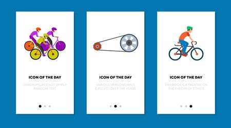 Bicycle racing flat icon set. Speed, wheel, cycling isolated vector sign pack Sport and health concept. Vector illustration symbol elements for web design and apps