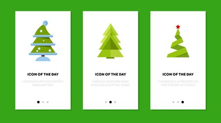 Fir trees flat icon set. Winter, snowy, origami Christmas tree with star isolated sign pack. Holiday, celebration, New Year concept. Vector illustration symbol elements for web design Ilustração