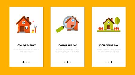Buying house thin flat icon set. Repair, buying, apartment isolated vector sign pack. Renting and accommodation concept. Vector illustration symbol elements for web design and apps