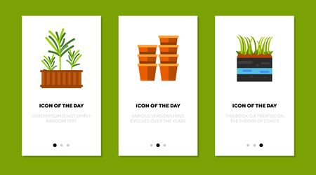 Planting at home thin flat icon set. Pot, growing, greenery isolated vector sign pack. Nature and gardening concept. Vector illustration symbol elements for web design and apps Vector Illustratie