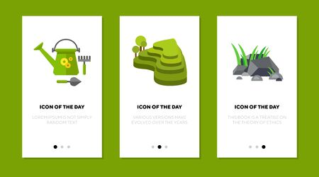 Landscaping thin flat icon set. Green, park, garden implements isolated vector sign pack. Nature and gardening concept. Vector illustration symbol elements for web design and apps Ilustração