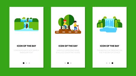 Recreation outdoors flat icon set. People riding bike, scooter, waterfalls isolated sign pack. Outdoor activity, park, landscape concept. Vector illustration symbol elements for web design Ilustração