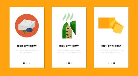 Cheese variety flat icon set. Roquefort, feta, cheddar blocks and slices isolated sign pack. Food, ingredient, cuisine concept. Vector illustration symbol elements for web design Illusztráció