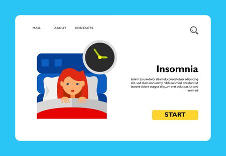 Insomnia icon. Multicolored vector illustration of female character suffering from insomnia Ilustrace