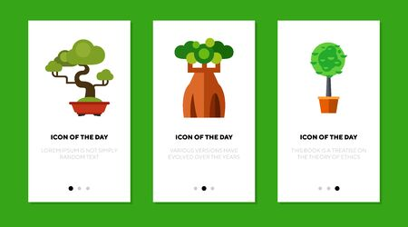 Trees flat icon set. Sequoia, baobab, houseplant isolated sign pack. Africa, savanna, nature concept. Vector illustration symbol elements for web design