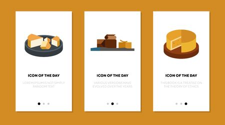 Cheese flat icon set. Chocolate, butter, block, piece isolated sign pack. Food, snack, gourmet concept. Vector illustration symbol elements for web design