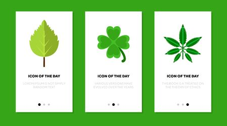 Green leaves flat icon set. Birch, trefoil, cannabis isolated sign pack. Plant, botany, nature concept. Vector illustration symbol elements for web design