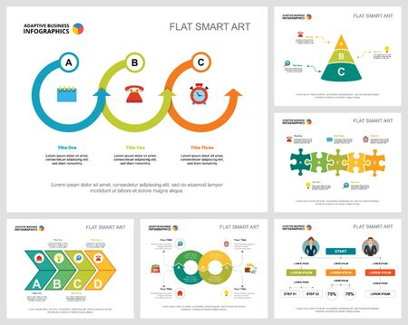 Colorful startup and management infographic charts set. Business design elements for presentation slide templates. Consulting concept can be used for annual report, flyer layout and banner design. Vecteurs