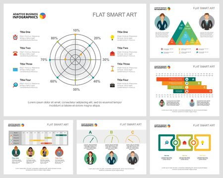 Colorful diagrams set for presentation slide templates. Business design elements. Analytics concept can be used for annual report, advertising, flyer layout and banner design. Vettoriali