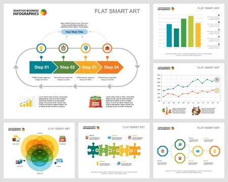 Colorful banking or planning concept infographic charts set. Business design elements for presentation slide templates. Can be used for financial report, workflow layout and brochure design.