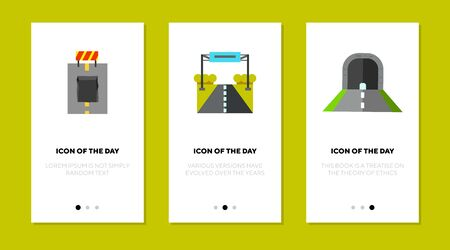 Road surface flat icon set. Driving, asphalt, way isolated sign pack. Roadway and construction concept. Иллюстрация