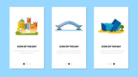National landmarks flat icon set. Bridge, castle, museum isolated sign pack. Sightseeing and tourism concept.
