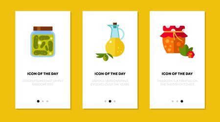 Pickle, oil and jam flat icon set. Storage, grandmother, glass isolated sign pack. Food and cooking concept.