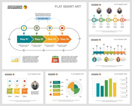 Colorful statistics or analysis concept infographic charts set. Business design elements for presentation slide templates. For corporate report, advertising, leaflet layout and poster design.