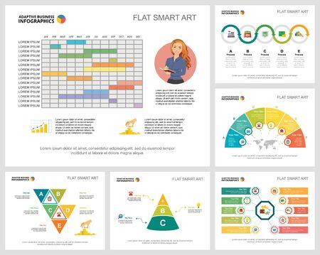 Ensemble de graphiques infographiques de concept coloré de travail d'équipe ou de finance. Éléments de conception d'entreprise pour les modèles de diapositives de présentation. Peut être utilisé pour le rapport annuel, la publicité, la mise en page de prospectus et la conception de bannières. Vecteurs