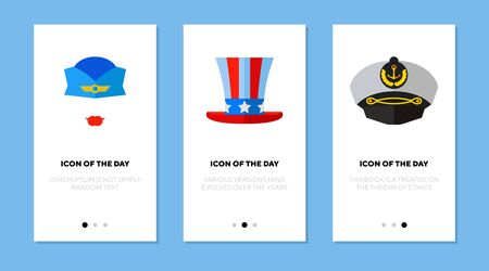 Professional cap flat icon set. Work, liner, uniform isolated sign pack. Occupation and service concept.