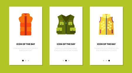 Waistcoat and vest flat icon set. Life, protection, warm isolated sign pack. Clothing and fashion concept. Illustration