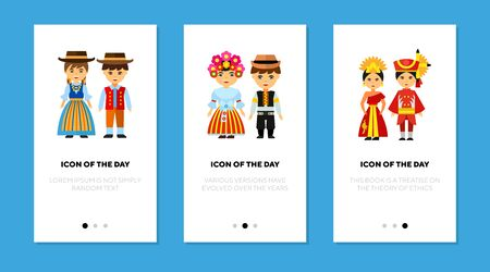 Pair in national costumes flat icon set. Swiss, Czech, Thai isolated sign pack. Clothes and tradition concept.