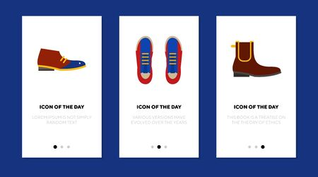 Man shoes flat icon set. Sport, walking, foot isolated sign pack. Footwear and fashion concept. Ilustração Vetorial