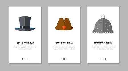 Top, military, and tin foil hats flat icon set. History, costume, style isolated sign pack. Headdress and entertainment concept.