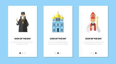 Christianity flat icon set. Doctrine, faith, church isolated sign pack. Culture and religion concept.