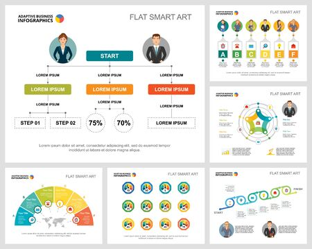 Colorful planning or startup concept infographic charts set. Business design elements for presentation slide templates. For corporate report, advertising, leaflet layout and poster design. 向量圖像