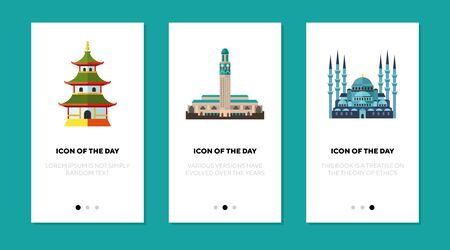 Religion old buildings flat icon set. Muslim, Morocco, temple isolated sign pack. Sightseeing and tourism concept. Illusztráció