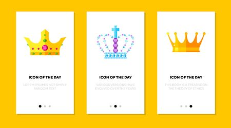 Luxury crown flat icon set. Gold, brilliant, status isolated sign pack. Jewelry and accessory concept.