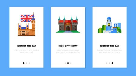 National old buildings flat icon set. Tower, construction, history isolated sign pack. Sightseeing and tourism concept.