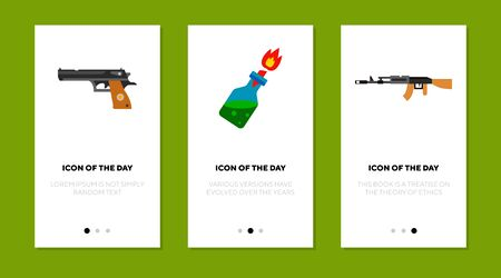 Fire arms flat icon set. Gun, bottle, soldier isolated sign pack. Military and weapon concept. Stock Illustratie