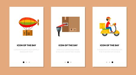 Post service flat icon set. Shipping, scan, cargo isolated sign pack. Delivery and transportation concept.