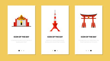 Traditional landmarks flat icon set. Arch, tower, building isolated sign pack. Sightseeing and tourism concept.