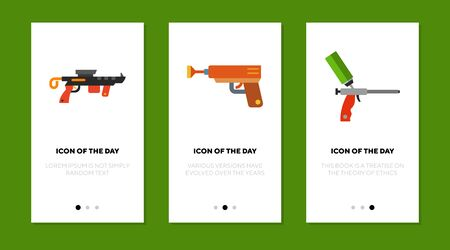 Game gun flat icon set. Virtual, arrow, silicon isolated sign pack. Equipment and entertainment concept.