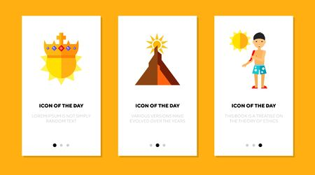 Shining sun flat icon set. Light, sunrise, sunburn isolated sign pack. Sunny weather, scalding sun concept. Vector illustration symbol elements for web design and apps