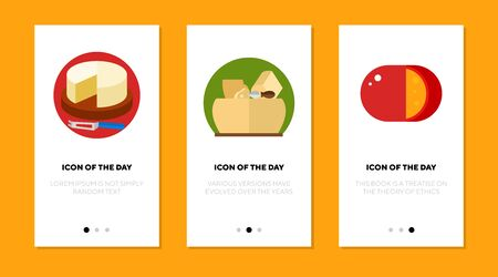 Cheese blocks flat icon set. Camembert, parmesan, gouda slice isolated sign pack. Food, ingredient, meal, cuisine concept. Vector illustration symbol elements for web design