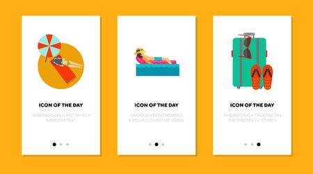 People sunbathing flat icon set. Swimming, luggage, beach isolated sign pack. Summer vacation, travelling concept. Vector illustration symbol elements for web design and apps