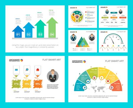 Colorful statistics or logistics concept infographic charts set. Business design elements for presentation slide templates. Can be used for financial report, workflow layout and brochure design.