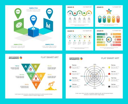 Colorful finance or banking concept infographic charts set. Business design elements for presentation slide templates. For corporate report, advertising, leaflet layout and poster design.