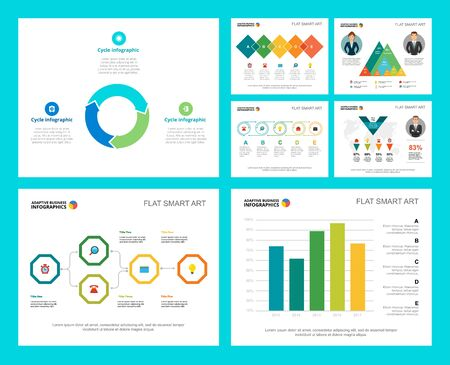 Colorful finance or research concept infographic charts set. Business design elements for presentation slide templates. Can be used for financial report, workflow layout and brochure design. Vettoriali