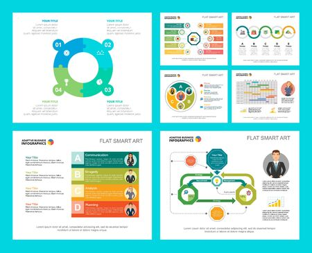 Colorful marketing or production concept infographic charts set. Business design elements for presentation slide templates. Can be used for financial report, workflow layout and brochure design.