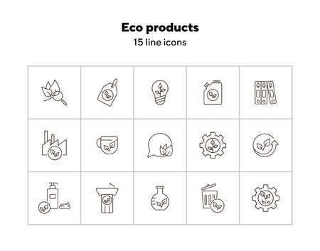 Eco products line icons. Set of line icons. Factory, liquid soap, bulb. Eco technology concept. Vector illustration can be used for topics like ecology, technology, environment Vectores