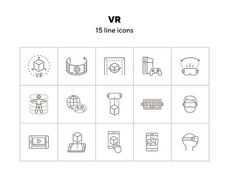 VR icon set. Man in VR glasses, DUSB, game console. Virtual reality concept. Vector illustration can be used for topics like VR, modern technologies, inventions Zdjęcie Seryjne - 142052935
