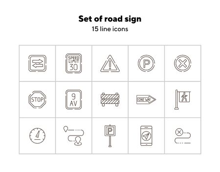 Set of road sign line icons. Attention sign, speed limit, crosswalk. Road sign concept. Vector illustration can be used for topics like traffic, road marking, traffic striping