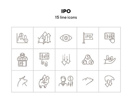 IPO icon set. Trade, money, currency. Wall street concept. Can be used for topics like commerce, stock market, profit 일러스트